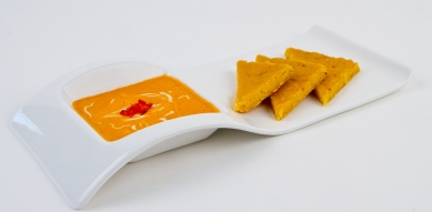 Red Bell Pepper Chipotle Soup with Cashew Sour Cream and Corn Bread